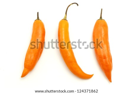 Aji amarillo on a white background - stock photo