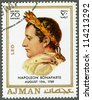 AJMAN - CIRCA 1970: A stamp printed in Ajman shows Napoleon Bonaparte (1769-1821), circa 1970 - stock photo
