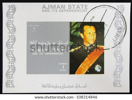 AJMAN - CIRCA 1986: A stamp printed in Ajman shows Officer, circa 1986
