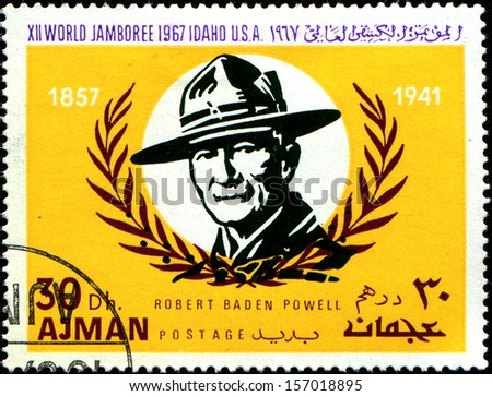 AJMAN - CIRCA 1967: A stamp printed in Ajman shows Robert Baden-Powell (1857-1941), circa 1967