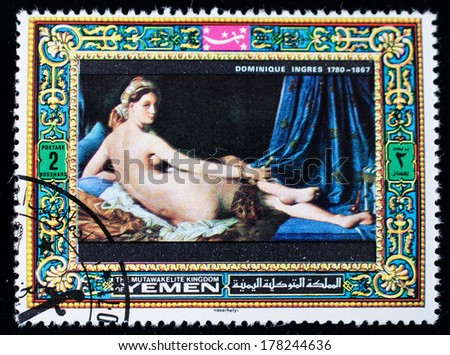 AJMAN - CIRCA 1985: A stamp printed in the Ajman, shows Dominique Ingres painting, circa 1985  - stock photo