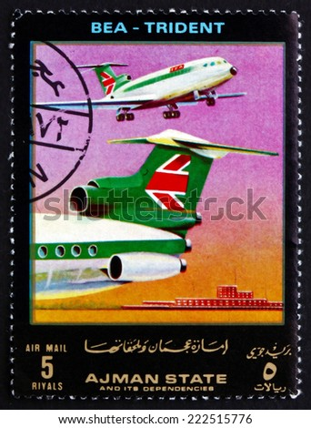 AJMAN - CIRCA 1972: a stamp printed in the Ajman shows Lockheed Trident, BEA, Airliner, circa 1972 - stock photo