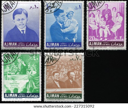 AJMAN - CIRCA 1967: Set of postage stamps printed in Ajman dedicated 50th anniversary of USA President John F. Kennedy birthday. The National Democratic Convention, circa 1967
