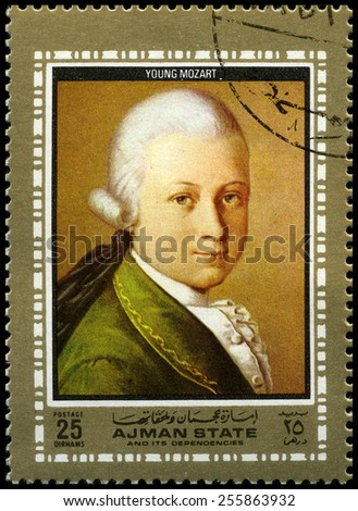AJMAN STATE - CIRCA 1972: A used postage stamp from Ajman State, depicting a portrait of famous composer Wolfgang Amadeus Mozart as a child, circa 1972.
