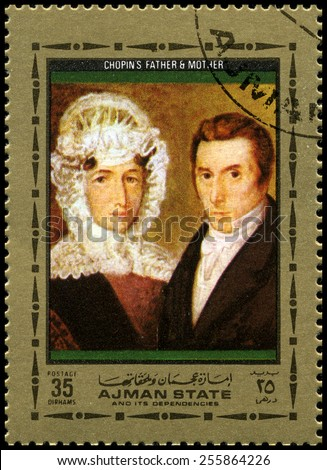 AJMAN STATE - CIRCA 1972: A used postage stamp from Ajman State, featuring a portrait of Frederic Chopins parents, circa 1972. - stock photo