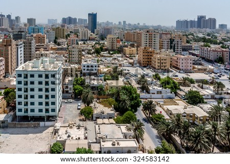AJMAN, UNITED ARAB EMIRATES - SEPTEMBER 5, 2015: Cityscape of Ajman. Ajman is the capital of the emirate of Ajman in the United Arab Emirates. - stock photo
