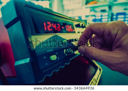 Ajust the function generator, electronic measuring instruments - stock photo