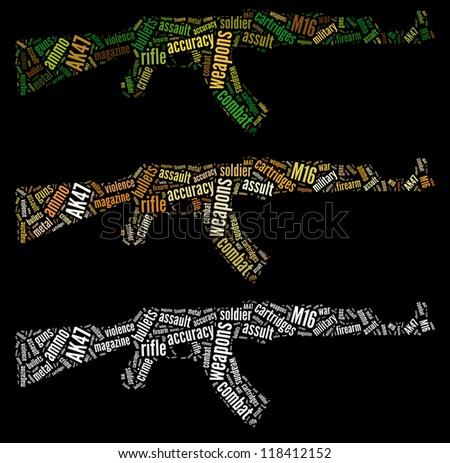 AK47 rifle info-text graphics arrangement and words cloud concept - stock photo