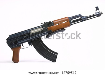 AK47 Rifle on White
