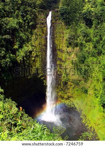 Akaka Falls on the big island of Hawaii - stock photo