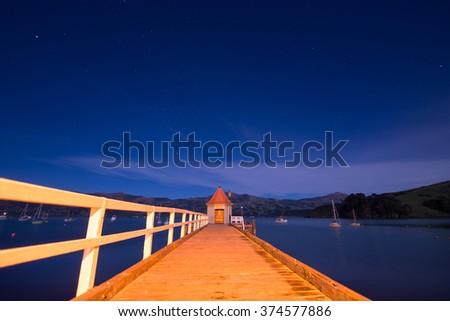 Akaroa Harbor New Zealand - stock photo