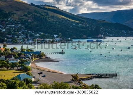 Akaroa, New Zealand - stock photo