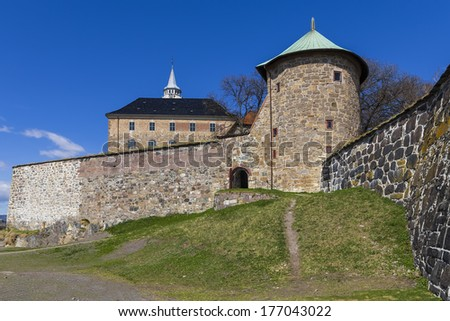Akershus Festning - it is the oldest building of Oslo, with a preserved 1308 - stock photo