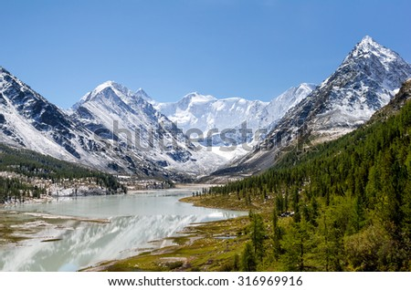Akkem Lake and Belukha, Altai mountains, Russia