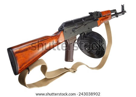 AKM (Avtomat Kalashnikova) Kalashnikov assault rifle with 75 Round Drum Magazine isolated
