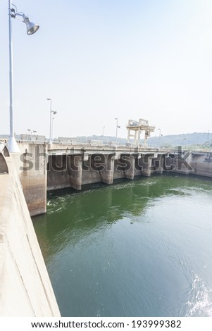 Akosombo Hydroelectric Power Station on the Volta River supplies with energy almost whole Ghana and half of Togo, West Africa. - stock photo