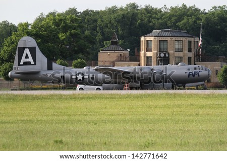 AKRON, OHIO - June 17: B-29 Superfortress, FiFi, on the tarmac at Akron Fulton Airport, on June 17, 2013 in Akron, Ohio - stock photo
