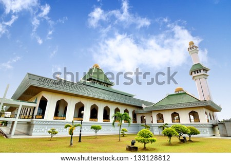 Al Azim mosque with stunning blue sky from right side - stock photo