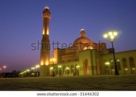 Al-fateh Grand Mosque  in bahrain - Night scene - stock photo