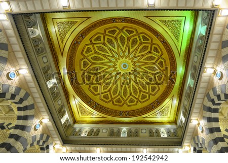 AL MADINAH, KINGDOM OF SAUDI ARABIA- MAY, 28: One of the huge domes inside of Masjid (mosque) Nabawi on May 28, 2013 in Al Madinah, S. Arabia. Nabawi mosque is the 2nd holiest mosque in Islam.
