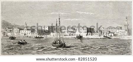 Al Qusair old view, Egypt. Created by Girardet after Lejean, published on Le Tour du Monde, Paris, 1860 - stock photo