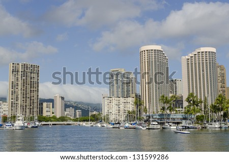 Ala Wai Boat Harbor in Waikiki, Hawaii.