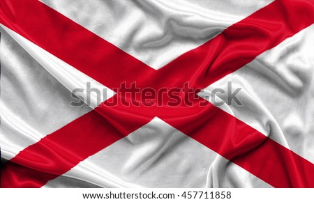 Alabama Flag Crumpled Fabric Background Wallpapers Stock Photo