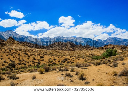 Alabama Hills are a range of hills and rock formations near the eastern slope of the Sierra Nevada Mountains in the Owens Valley, west of Lone Pine in Inyo County, California. - stock photo