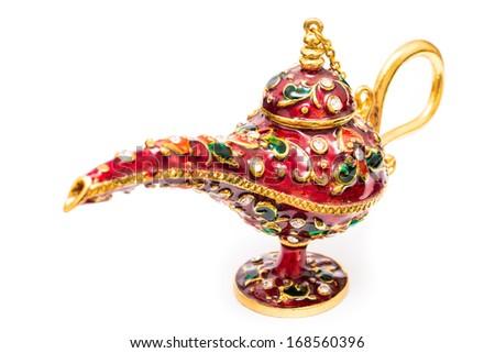 Aladdin Magic Lamp Isolated On White Background - stock photo