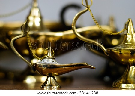 Aladdin  middle eastern traditional magic brass lanterns - stock photo
