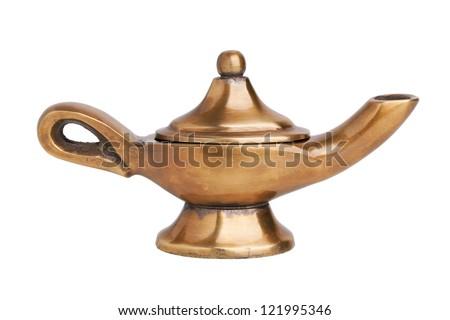 Aladdin's magic lamp on a white background - stock photo