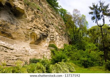 Aladja Monastery carved in the rock in Bulgaria - stock photo