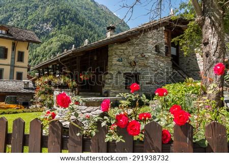 Alagna Valsesia, Valsesia, Vercelli, Piedmont, Italy - stock photo