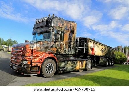 ALAHARMA, FINLAND - AUGUST 12, 2016: Customized Scania T580 Resident Evil of J Davis from Ireland with elaborate artwork wins Best in Show category on Power Truck Show 2016 in Alaharma, Finland.