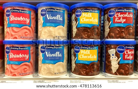 Alameda, CA - September 01, 2016: Grocery store shelf with 16 ounce containers of Pillsbury brand frostings. Strawberry, Vanilla, Milk Chocolate and Chocolate Fudge flavors.