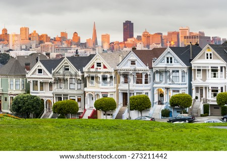 Alamo Square at sunset, San Francisco, California, USA - stock photo