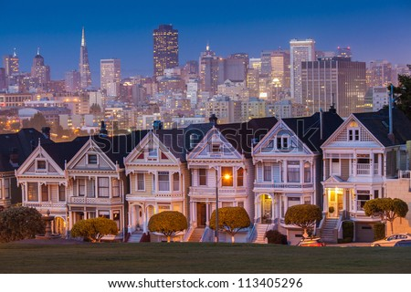 Alamo Square at twilight, San Francisco - stock photo