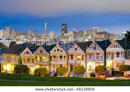 Alamo Square at twilight with clouds in the sky, San Francisco. - stock photo