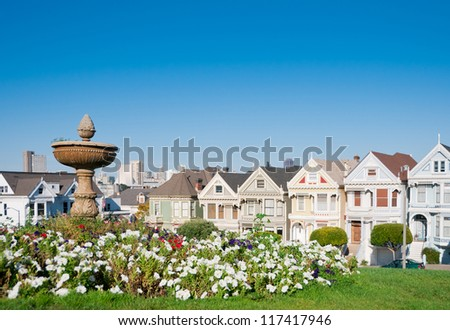 Alamo Square, San Francisco, California, USA - stock photo