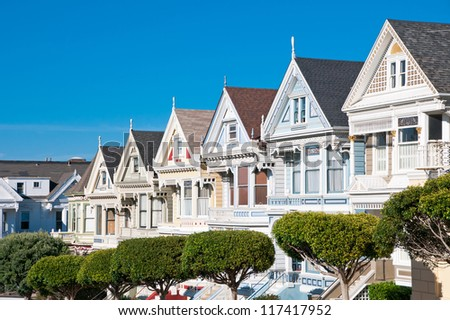 Alamo Square, San Francisco, California, USA - stock photo