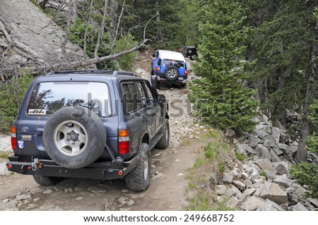 ALAMOSA, COLORADO - CIRCA JULY 2011. Known as among the roughest Four Wheel Drive roads in the country, the Lake Como Road in the Sangre de Cristo Mountains will test the toughest 4x4 vehicle. - stock photo