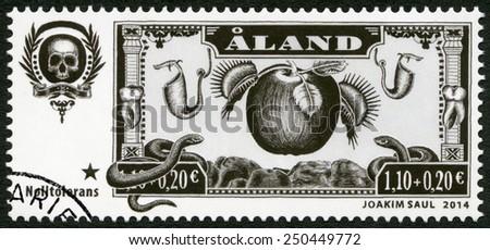 ALAND - CIRCA 2014: A stamp printed in Aland dedicated Charity Stamp Zero Tolerance, circa 2014   - stock photo