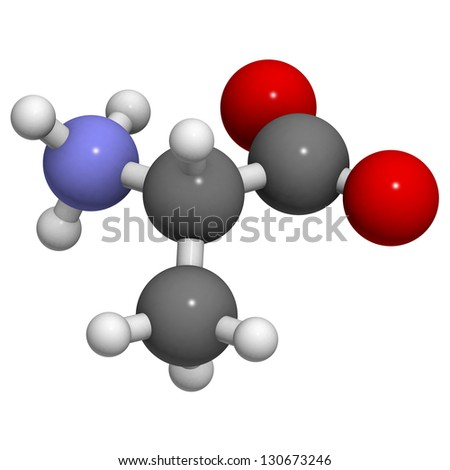 Alanine (Ala, A) amino acid, molecular model. Amino acids are the building blocks of all proteins. Atoms are represented as spheres with conventional color coding: hydrogen (white), carbon (grey),... - stock photo
