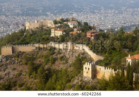 alanya castle view - stock photo