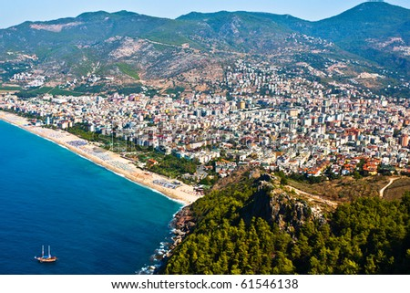Alanya city hill, sea coast, Turkey - stock photo