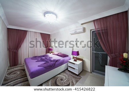 ALANYA, TURKEY - AUG 11, 2015: Bedroom in My Marine Residence residential complex in Alanya. Residential complex My Marine Residence built one of largest companies in Turkey Umitli Group.