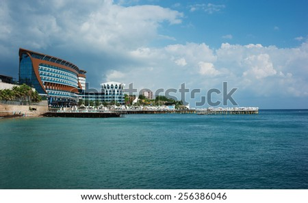 ALANYA, TURKEY - JULY 18: A general view of the hotel Granada Luxury Resort. Hotel has 598 rooms and 13,000 square meters area on July 18, 2013 in Alanya, Turkey - stock photo