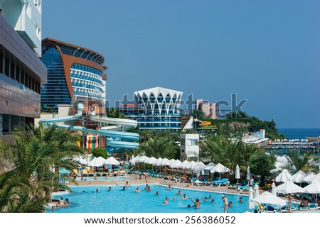 ALANYA, TURKEY - JULY 14: A general view of the hotel Vikingen Quality Resort. Hotel has 450 rooms and 13,000 square meters area on July 14, 2013 in Alanya, Turkey - stock photo