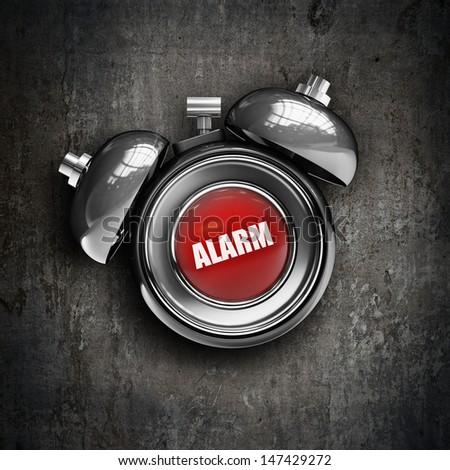 alarm bell on grunge background. High resolution 3d render  - stock photo