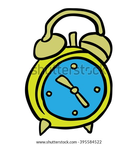 alarm clock cartoon illustration - stock photo